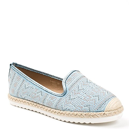 Ideal Shoes Mocassins Effet Daim Incrustés de Strass Jimena Bleu ciel