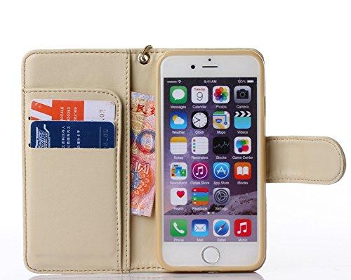 Pour iPhone 5C Coque, iNenk® Retro Une fleur Modèle Téléphone Coque PU Cuir Portefeuille Carte Chaîne Téléphone Coque Housse protection-Bleu De couleur crème