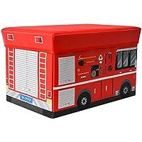 Textil Aufbewahrungsbox Hocker Spieltruhe Spielbox faltbar Feuerwehrauto mit Deckel Sitzfläche gepolstert preisvergleich bei kinderzimmerdekopreise.eu