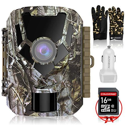 COLORWAY Caméra de Chasse -Hunting Camera 16MP 1080P HD IP65 Étanche, Mini Caméra Surveillance avec 22Pcs LED, Vision Nocturne Infrarouge, Capteur de Mouvement PIR, 2 LCD Ecran