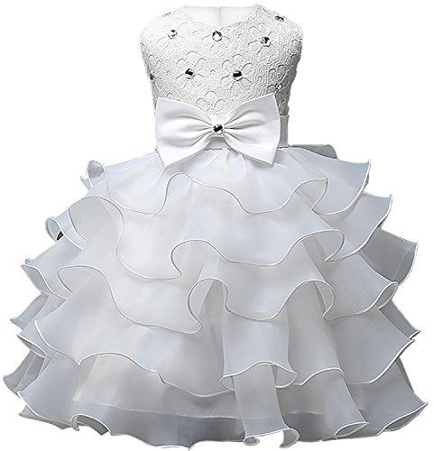Eudolah Robe bebe fille a volants en organza avec ornement de perles bapteme soiree ceremonie 100 blanc