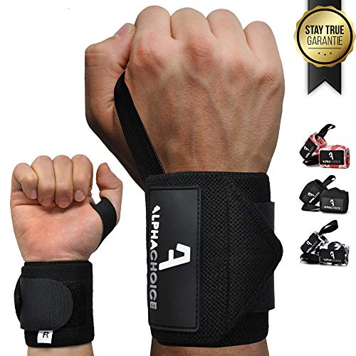 Alphachoice Handgelenk Bandagen Fitness Handgelenkschoner für Bodybuilding, Krafttraining, Crossfit | Wristband Handbandage Gelenkschoner Frauen und Männer (Schwarz)