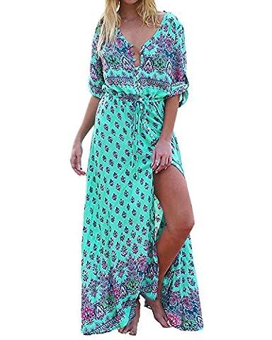 ZANZEA Femme Robe d'été Boho Rétro Longue Maxi Imprimé Floral Plissé Col V à Manches Courtes Hippie Robe de Plage Cocktail Vert EU 46