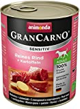 Animonda GranCarno Hundefutter Sensitive Adult Reines Rind + Kartoffeln, 6er Pack (6 x 800 g)