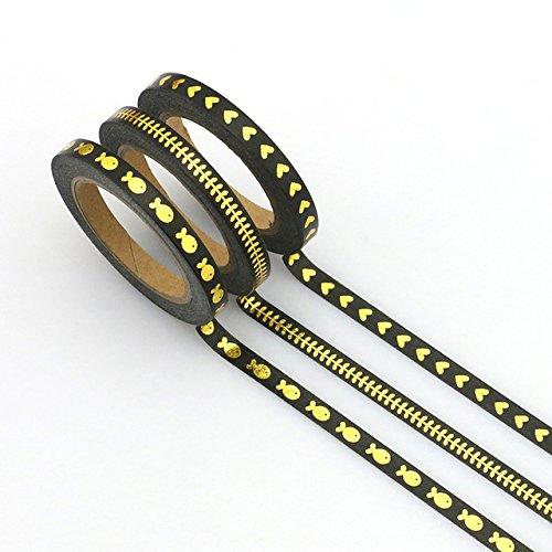 Set mit 3 dünnen, schmalen Washi-Bändern, schwarze & goldene Folie
