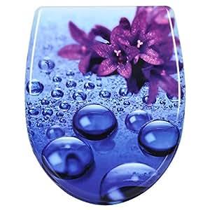 WOLTU 2474 Toilettensitz Wc Sitz mit Absenkautomatik, Duroplast, Fast Fix/Schnellbefestigung, Softclose Scharnier, Antibakteriell, Violett ...