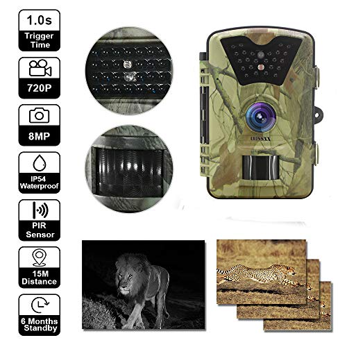 OOSSXX Day/Night Trail Camera,12MP Full HD 1080P 90° PIR Sensor Wildlife Hunting & Game Camera,940nm Upgrading Invisible Infrared LED Night Vision up to 65ft.2.4 inch LCD Screen, Password Protected Motion Compact Audio