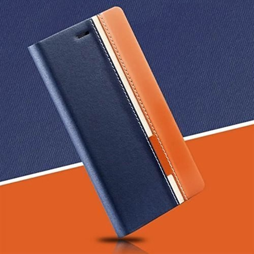 Badhiyadeal Customised Unique Design Flip Video Stand View Flip Cover Case for Xiaomi Redmi 3S Prime - Orange and Blue
