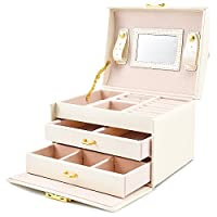 BalladHome Jewelry Storage Box Faux Leather Jewelry Box Built-in Mirror Lockable Compact Size Makeup and Accessories Storage