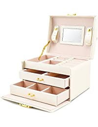 BalladHome Jewelry Storage Box Faux Leather Jewelry Box Built-in Mirror, Lockable, Compact Size, Makeup,and Accessories Storage (White)