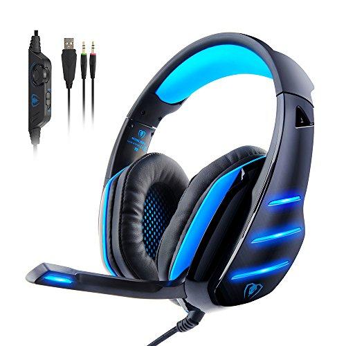 Gaming Kopfhörer PC, PS4 Gaming Headset Kopfhörer mit Mikrofon LED 3.5mm On Ear Surround Sound Ohrhörer und Lautstärkeregelung für PS4 Xbox Ones PC Laptop Tablet Chat Musik -