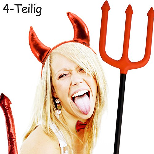 HOMETOOLS.EU - Teufel Kostüm Set | Hörner, Dreizack, Fliege, Schwanz | 4 teilig (Kreative Ideen Für Halloween Kostüm)