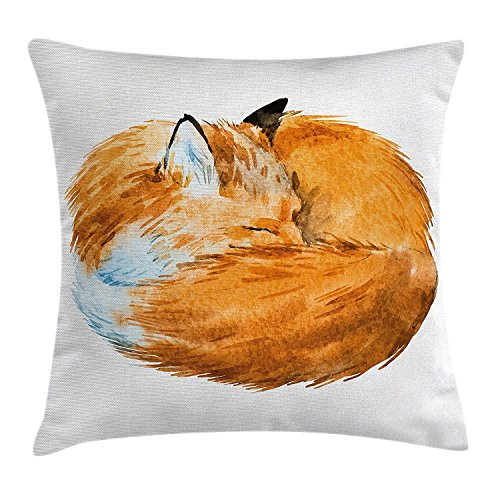 Animal Decor Throw Pillow Cushion Cover by Ambesonne, Cute Fox Sleeping Deep Funny Creature Kids Nursery Watercolor Art Design, Decorative Square Accent Pillow Case, 18 X 18 Inches, Apricot White -