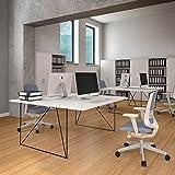 Weber Büro PROFI 2er Team-Schreibtisch AIR Gruppenarbeitsplatz Team Bench Schreibtisch Doppel-Arbeitsplatz, Gestellfarbe:Schwarz