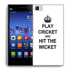 Snoogg Play Cricket And Hit Wicket White Designer Protective Back Case Cover For Xiaomi Mi 3