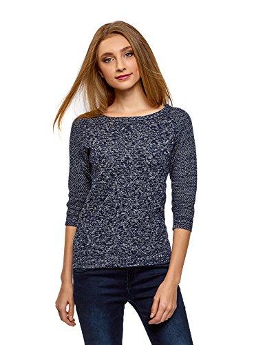 oodji Ultra Damen Pullover mit Geometrischem Muster und 3/4-Ärmeln, Blau, DE 40 / EU 42 / L