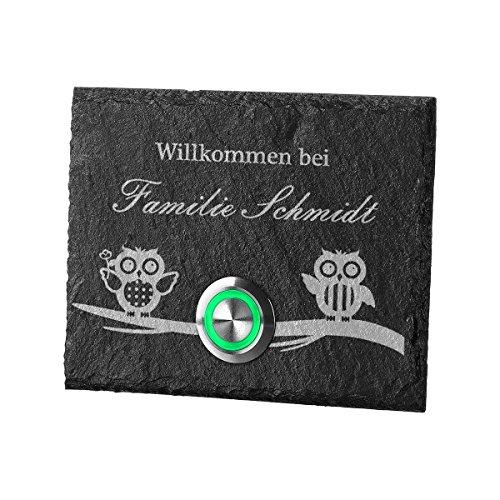 LED Türklingel aus Schiefer TASTER GRÜN Model Elster mit Silikon inkl. Gravur Motiv Eulen (05 Schiefer-grün)
