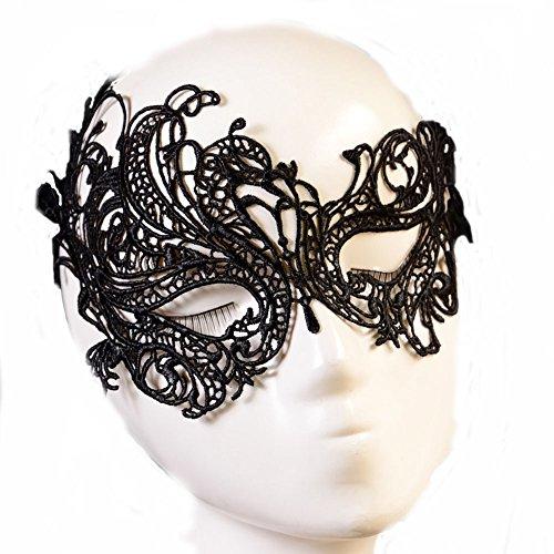 FairOnly Halloween-Kostüm für Partys, Damen, sexy, Aushöhlung, Catwoman, Spitze, Schwarz 5010 Black