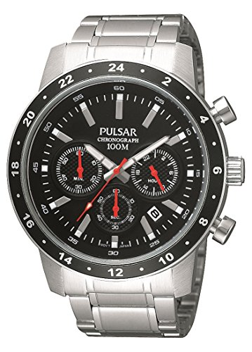 Pulsar Uhren Unisex Analogue Watch with black Dial Analogue Display and Stainless steel plated gun metal - PT3161X1