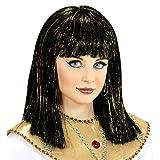 NET TOYS Schicke Cleopatra-Perücke für Kinder | Schwarz-Gold | Hübsches Mädchen-Kostüm-Zubehör Pagenkopf mit Pony Pharaonin | EIN Blickfang für Kinder-Fasching & Straßenkarneval