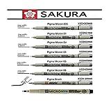 Sakura, penna ad inchiostro Pigma Micron, in blister di carta, Black, 8 pcs.005,01,02,03,05,08,Brush + Pen