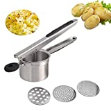 Potato Ricer, Mystery Stainless Steel Potato Masher with 3 Interchangeable Ricing Discs Ricer