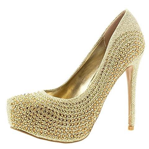 Chaussures Femme Soiree - Femmes Stylet Diamante Fête Soir Talon Haut