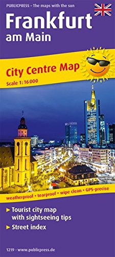 Frankfurt am Main: Tourist City Centre map with sightseeing tips and Street index. 1 : 16 000 (Stadtplan / SP)