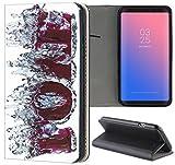 Samsung Galaxy J7 2017 J730 Hülle Premium Smart Einseitig Flipcover Hülle Galaxy J7 2017 Flip Case Handyhülle Samsung J7 2017 Motiv (1402 Love Wasser Abstract Lila Liebe)