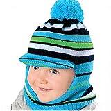 Kinder Wintermütze, Schlupfmütze, Schirmmütze R4/1-10 (H8-NACHTBLAU+Grün/Blau/Weiß)