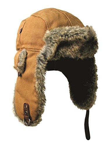 Kakadu Traders Wintermütze Skimütze Flieger-Mütze Huskie aus Canvas mit Kunstfell | Herren Damen Unisex Größe L Braun