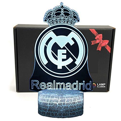TriPro La Liga club de fútbol Lámpara de escritorio LED 3D con iluminación óptica inteligente de 7 colores con cable USB (Real Madrid)