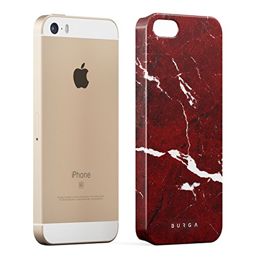 Cover iPhone 5 / 5s / SE Nero Marmo, BURGA Black Marble Design Sottile, Guscio Resistente In Plastica Dura, Custodia Protettiva Per iPhone 5 / 5s / SE Case Iconic Ruby