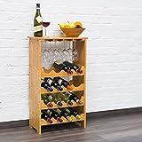 Weinregal Standregal Flaschenregal 50x24x84cm Gläserregal Weinschrank 16 Flaschen und 12 Gläser Küchenregal Holzregal Bambusregal - 2