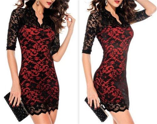Schwarze Blumenspitze Kurzen Ärmeln V-Ausschnitt Elegant Frauen Kurze Mini-Kleid Rot