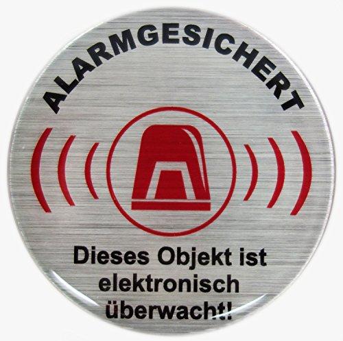 Warnhinweise Schild Alarmgesichert alu gebürstet Dieses Objekt ist elektronisch überwacht - exzellenter Wetterschutz keine billigen Folienaufkleber ()