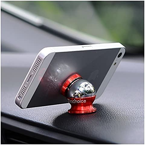 Nochoice® 360° Ruotabile Supporto Magnetico Auto Universale / Supporto Auto Smartphone Porta Telefono per iPhone sony xperia samsung galaxy s6 One Plus Smartphone, Navigatore ecc (Red)
