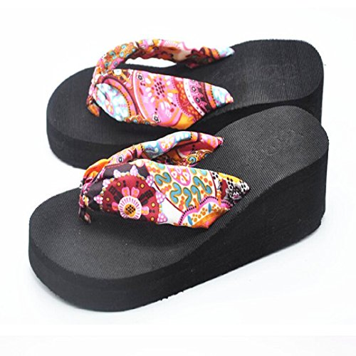 Fulltime® Femmes Bohemian Sandal Platform Wedges Plage Tongs Chaussons Noir