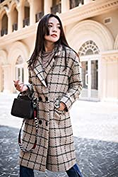 MO Autumn and Winter Women 'S Woolen Coat Long Section of the Lattice Was Thin Coat Coat by MO