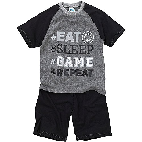Bedlam Older Boys Eat Sleep Game Repeat Tired Face T-Shirt Shortie Pyjamas