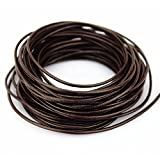 LolliBeads (TM) echtes Lederband , Leder, Round Dark Brown_2mm_10M, 2mm10yard