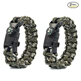 PSKOOK Paracord Survival Bracelet Avec Élastique Choc Corde Boussole Sifflet Fire Starters Sauvage Tactical Emergency Gear Kit 2PCS (Forest Camo)