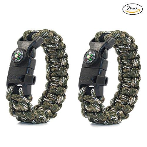 PSKOOK Paracord Survival Armband mit elastischen Schock Seil Kompass Whistle Feuer Starter Wildnis Taktische Notfall Ausrüstung Kit 2PCS (Wald Camo)