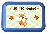 wolga-kreativ Brotdose Lunchbox mit Name Fuchs Fuchse und Wunschname mit Trennsteg viele Motive