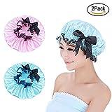 Duschhaube Wiederverwendbar Damen Elastische Wasserdichte doppelte Schicht Frauen Duschhaube für Bad oder Spa (blau und rosa)