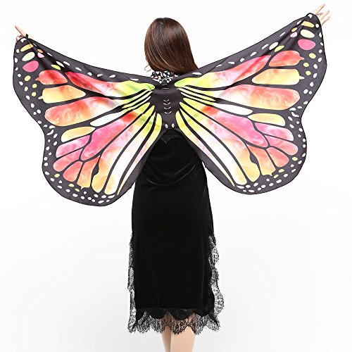 TIZUPI ❤Karneval Damen Butterfly Wings Schmetterling Schal Schals Ladies Nymph Pixie Poncho Kostümzubehör Fee Cape Nymph Elf Kostüm Zubehör Eine Größe(Gelb,Eine Größe
