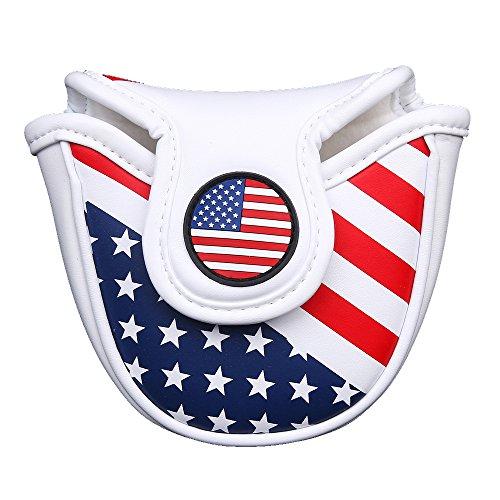 Maillet Tête Coque Coque avec fermeture magnétique de putter de golf Couvre-fer USA Drapeau