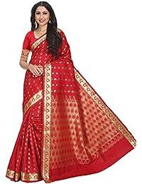 Craftsvilla Women's Silk Blend Buti Work Designer Red Saree With Blouse Piece