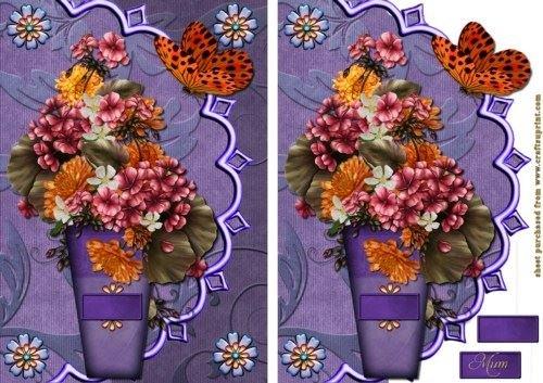 Feuille A4 pour confection de carte de vœux - Just flowers par Debra Jenkinson