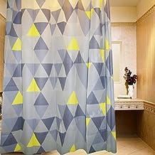 "DU&HL Espaldera modelo baño cortina cortina de ducha tela decorativa 70"" W x 70"" L verde y amarillo"